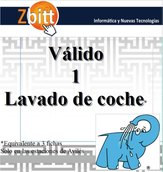 Vale regalo de Zbitt por un lavado gratis en los Centros Elefante Azul de Avilés.