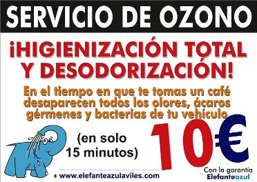 Servicio de Higienización y Desodorización integral del vehículo con Ozono en el Elefante Azul de Avilés.