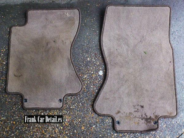 Estado de las alfombrillas antes de su limpieza en Frank Car Detail. Centro de lavado de coches Elefante Azul de Avilés