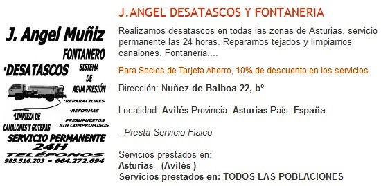 Ventajas de la Tarjeta Ahorro Elefante Azul de Avilés en J. Angel Muñiz Fotanería y Desatascos