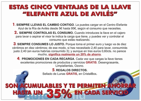 Elefante Azul Aviles - Tarjeta y Llave de Lavado - Centro de lavado de coches Elefante Azul Avilés